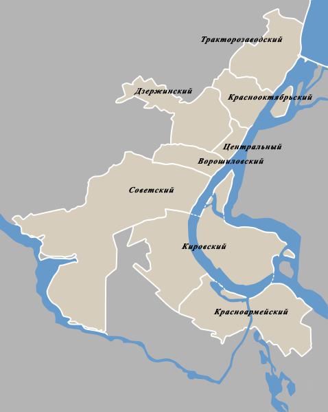 районов Волгограда Схема