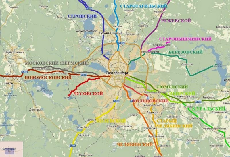 схема трактов пригорода